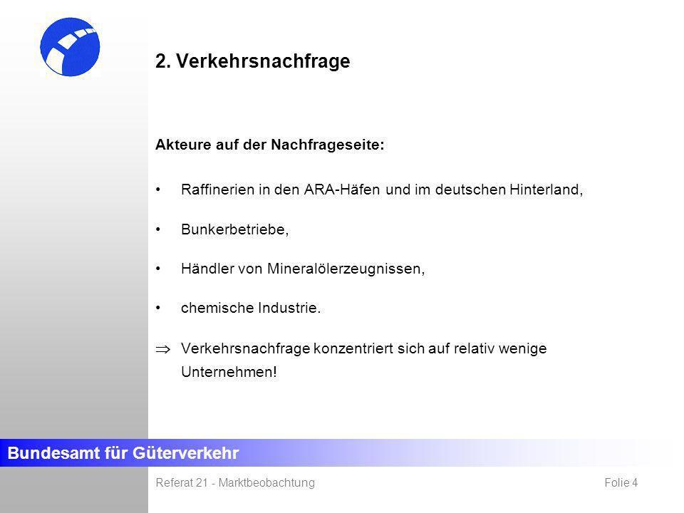 Bundesamt für Güterverkehr Referat 21 - Marktbeobachtung Folie 4 2. Verkehrsnachfrage Akteure auf der Nachfrageseite: Raffinerien in den ARA-Häfen und
