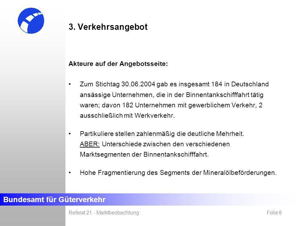 Bundesamt für Güterverkehr Referat 21 - Marktbeobachtung Folie 8 3. Verkehrsangebot Akteure auf der Angebotsseite: Zum Stichtag 30.06.2004 gab es insg