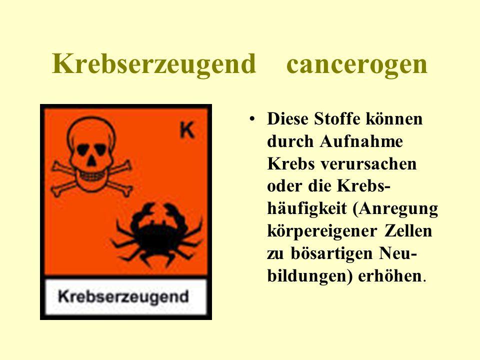 Krebserzeugend cancerogen Diese Stoffe können durch Aufnahme Krebs verursachen oder die Krebs- häufigkeit (Anregung körpereigener Zellen zu bösartigen
