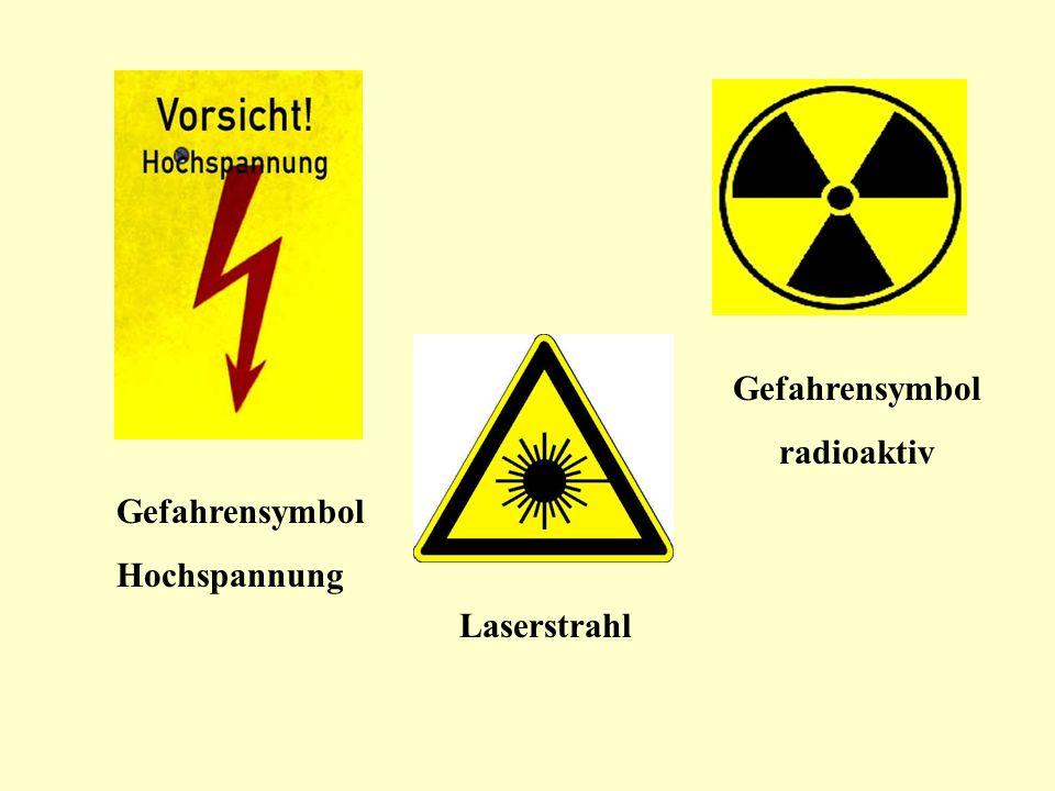 Gefahrensymbol Hochspannung Gefahrensymbol radioaktiv Laserstrahl