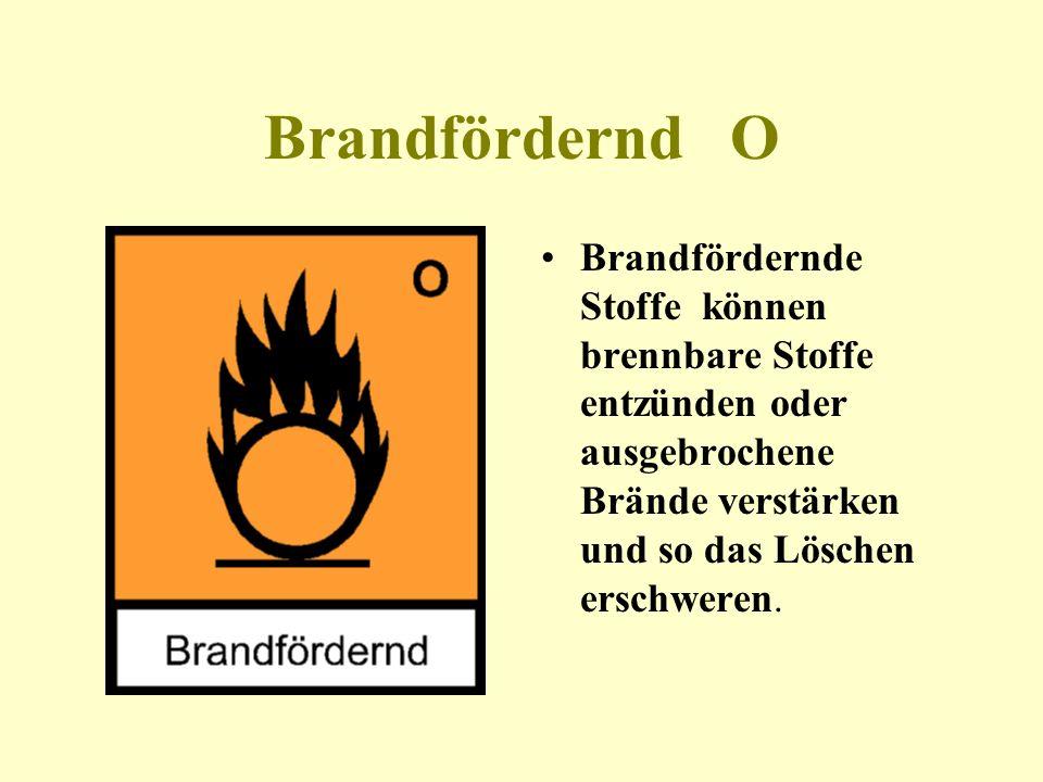 Leichtentzündlich F flammable F Leichtentzündliche Stoffe bilden im Kontakt mit Luft hochentzündliche Gase.