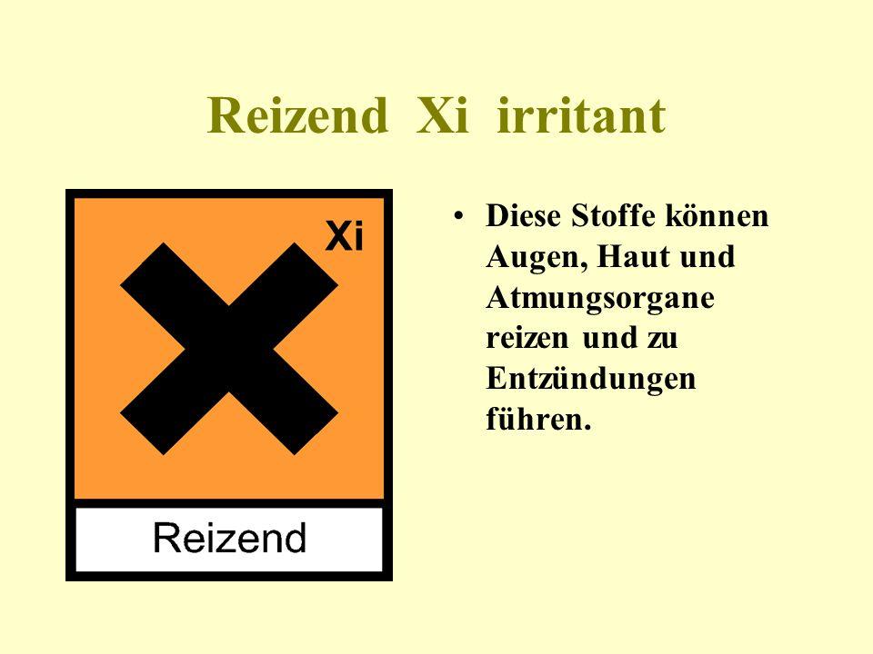 Gesundheitsschädlich Xn Diese Stoffe können durch Hautkontakt, Einatmen oder Verschlucken akute oder chronische Gesundheitsschäden verursachen.