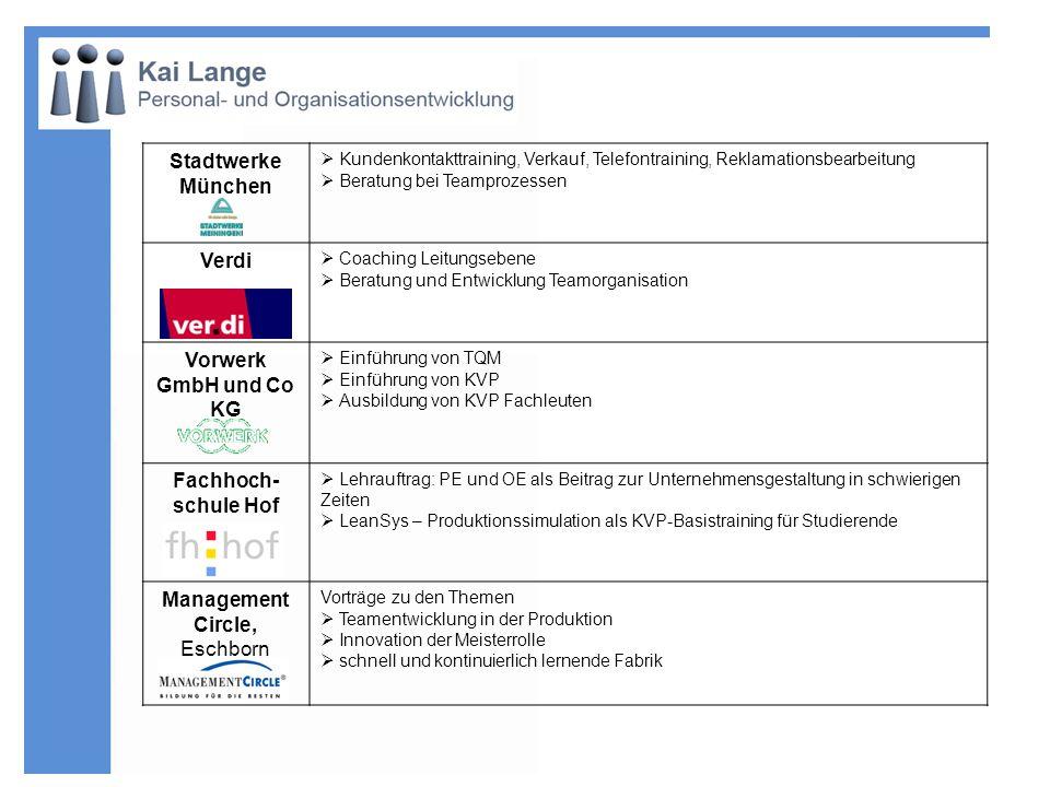 Stadtwerke München Kundenkontakttraining, Verkauf, Telefontraining, Reklamationsbearbeitung Beratung bei Teamprozessen Verdi Coaching Leitungsebene Be