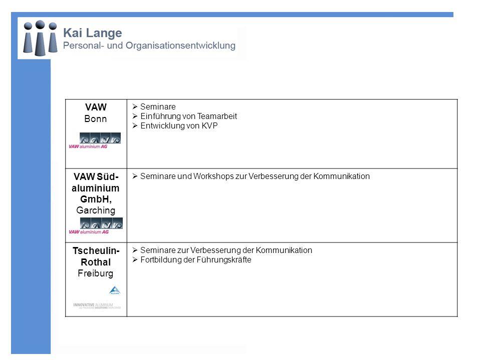 VAW Bonn Seminare Einführung von Teamarbeit Entwicklung von KVP VAW Süd- aluminium GmbH, Garching Seminare und Workshops zur Verbesserung der Kommunik