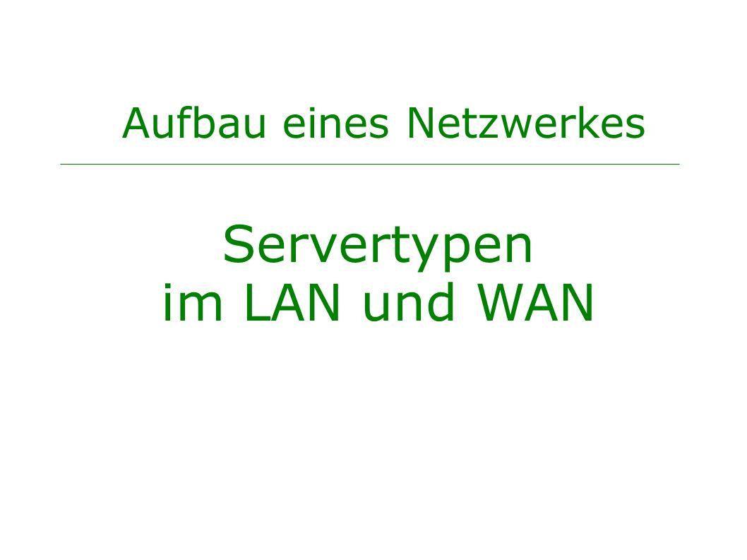 Aufbau eines Netzwerkes Servertypen im LAN und WAN
