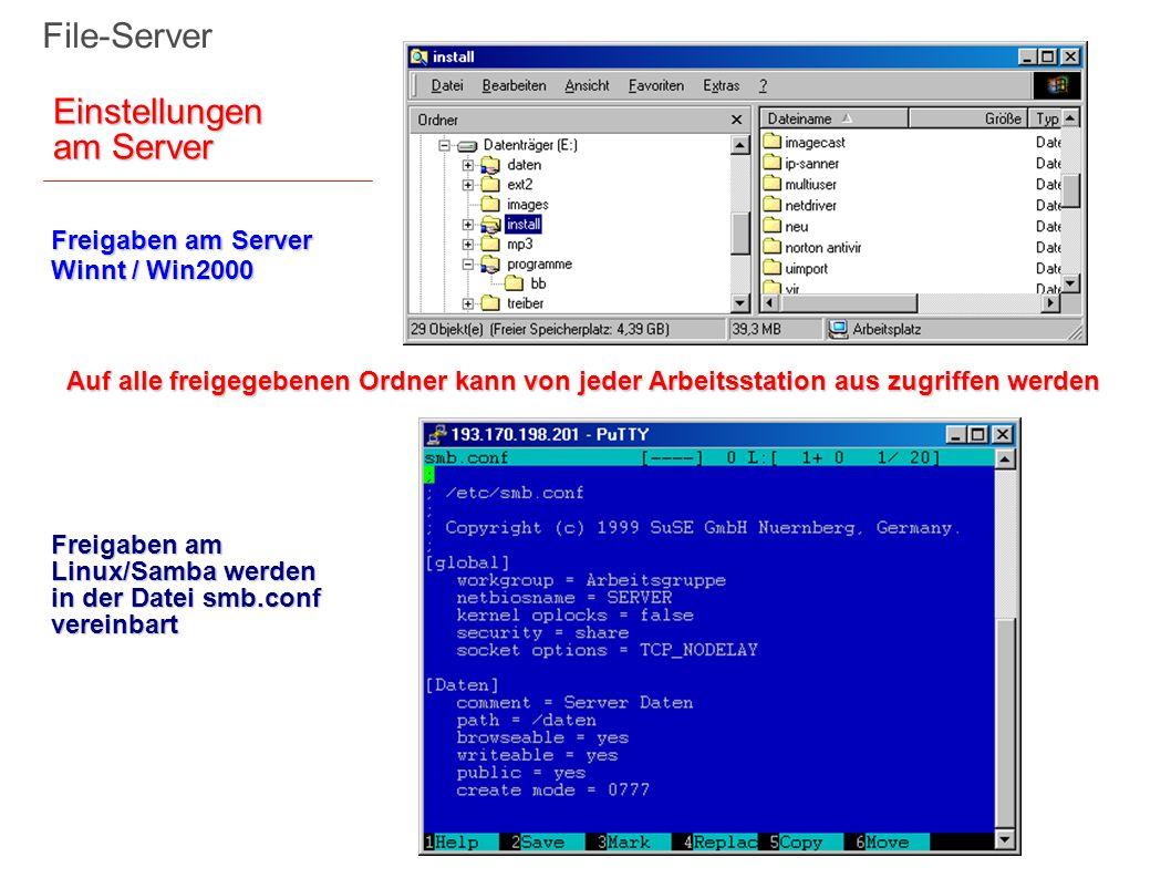 Freigaben am Server Winnt / Win2000 Auf alle freigegebenen Ordner kann von jeder Arbeitsstation aus zugriffen werden File-Server Freigaben am Linux/Sa