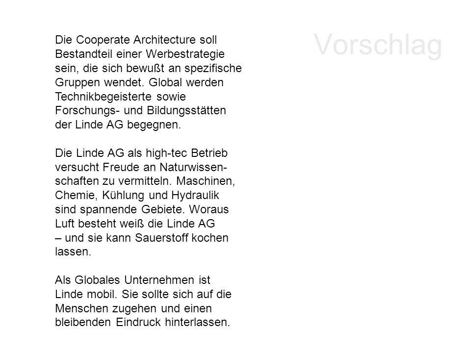 Vorschlag Die Cooperate Architecture soll Bestandteil einer Werbestrategie sein, die sich bewußt an spezifische Gruppen wendet. Global werden Technikb