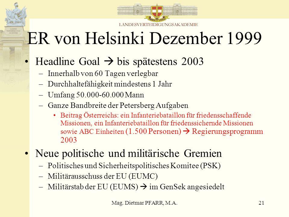 Mag. Dietmar PFARR, M.A.21 ER von Helsinki Dezember 1999 Headline Goal bis spätestens 2003 –Innerhalb von 60 Tagen verlegbar –Durchhaltefähigkeit mind