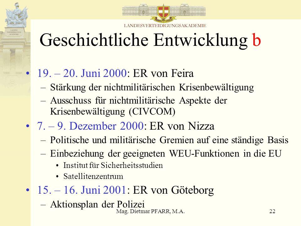 Mag. Dietmar PFARR, M.A.22 Geschichtliche Entwicklung b 19. – 20. Juni 2000: ER von Feira –Stärkung der nichtmilitärischen Krisenbewältigung –Ausschus