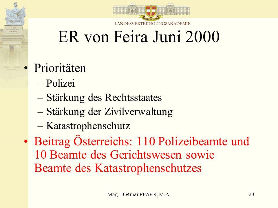 Mag. Dietmar PFARR, M.A.23 ER von Feira Juni 2000 Prioritäten –Polizei –Stärkung des Rechtsstaates –Stärkung der Zivilverwaltung –Katastrophenschutz B