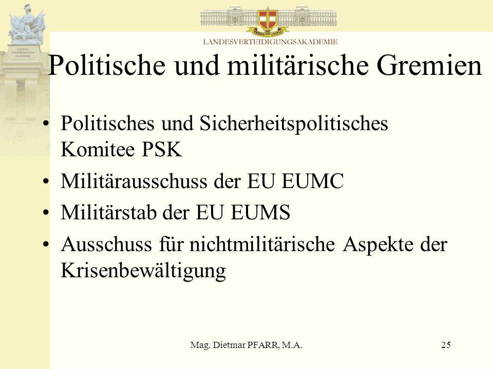 Mag. Dietmar PFARR, M.A.25 Politische und militärische Gremien Politisches und Sicherheitspolitisches Komitee PSK Militärausschuss der EU EUMC Militär