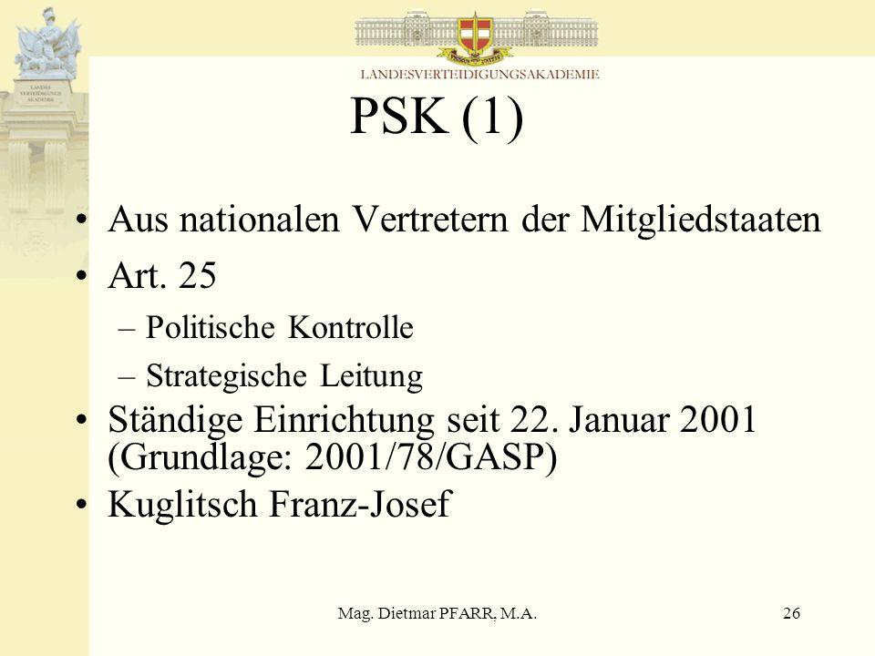 Mag. Dietmar PFARR, M.A.26 PSK (1) Aus nationalen Vertretern der Mitgliedstaaten Art. 25 –Politische Kontrolle –Strategische Leitung Ständige Einricht