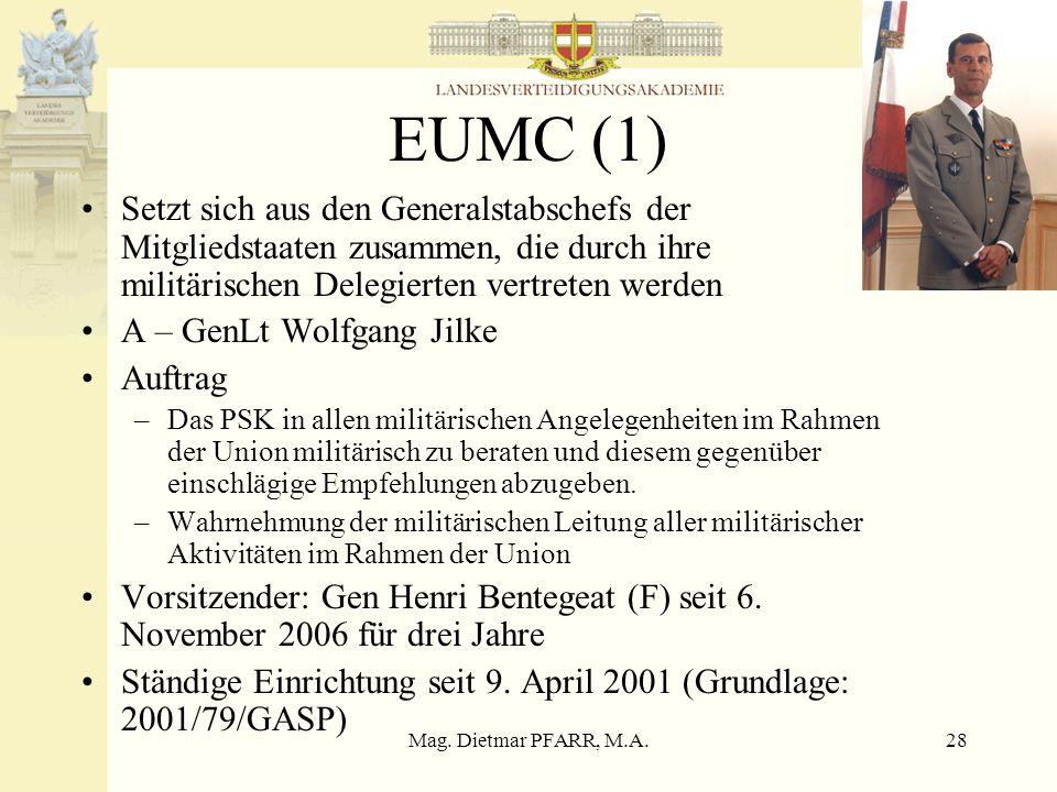 Mag. Dietmar PFARR, M.A.28 EUMC (1) Setzt sich aus den Generalstabschefs der Mitgliedstaaten zusammen, die durch ihre militärischen Delegierten vertre