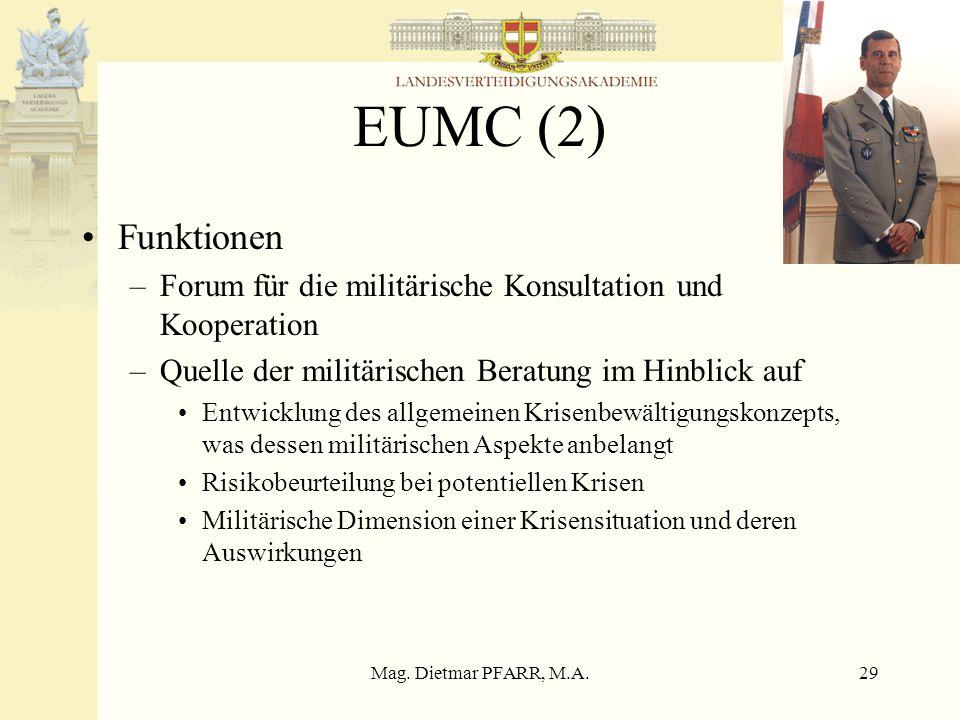 Mag. Dietmar PFARR, M.A.29 EUMC (2) Funktionen –Forum für die militärische Konsultation und Kooperation –Quelle der militärischen Beratung im Hinblick