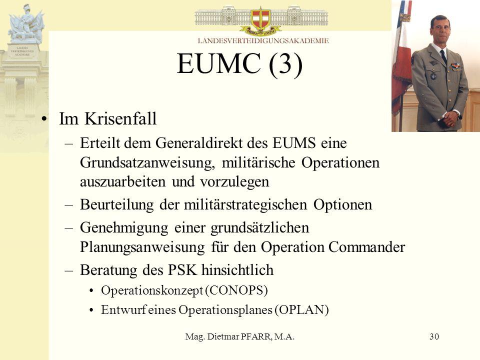 Mag. Dietmar PFARR, M.A.30 EUMC (3) Im Krisenfall –Erteilt dem Generaldirekt des EUMS eine Grundsatzanweisung, militärische Operationen auszuarbeiten