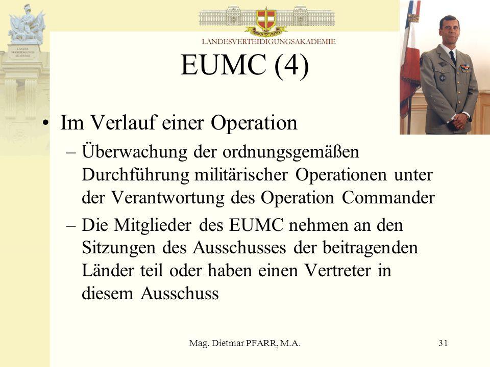 Mag. Dietmar PFARR, M.A.31 EUMC (4) Im Verlauf einer Operation –Überwachung der ordnungsgemäßen Durchführung militärischer Operationen unter der Veran