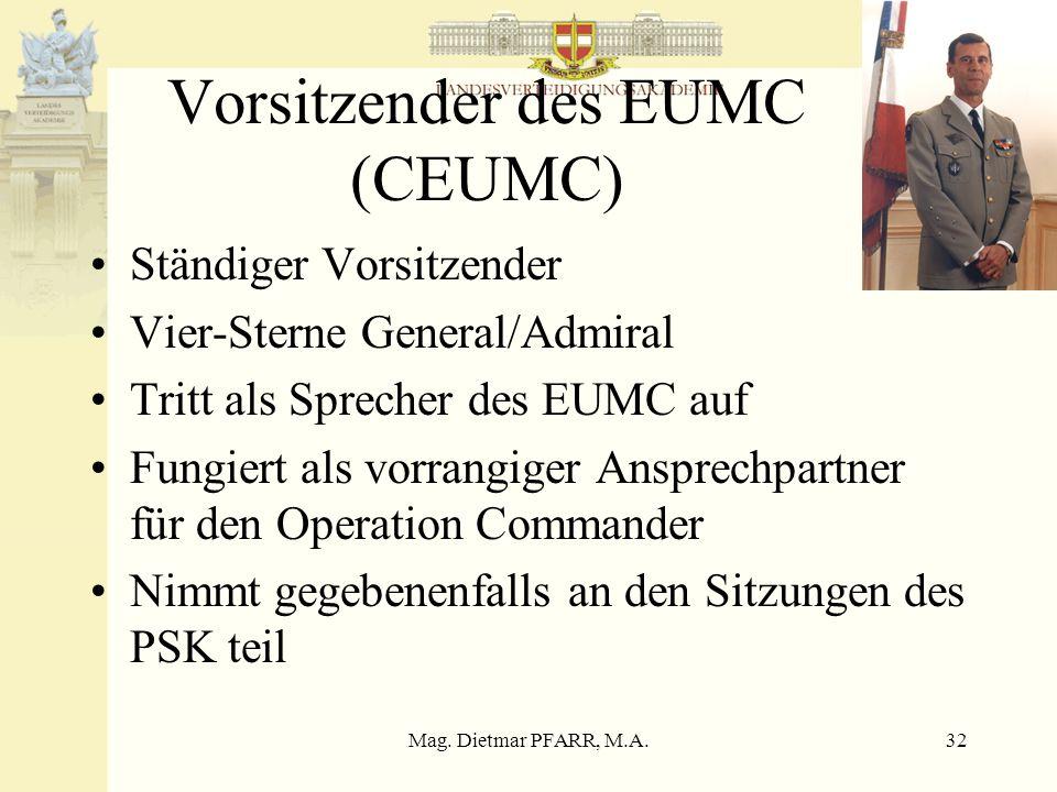 Mag. Dietmar PFARR, M.A.32 Vorsitzender des EUMC (CEUMC) Ständiger Vorsitzender Vier-Sterne General/Admiral Tritt als Sprecher des EUMC auf Fungiert a