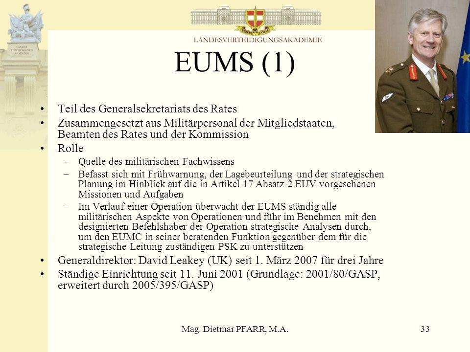 Mag. Dietmar PFARR, M.A.33 EUMS (1) Teil des Generalsekretariats des Rates Zusammengesetzt aus Militärpersonal der Mitgliedstaaten, Beamten des Rates