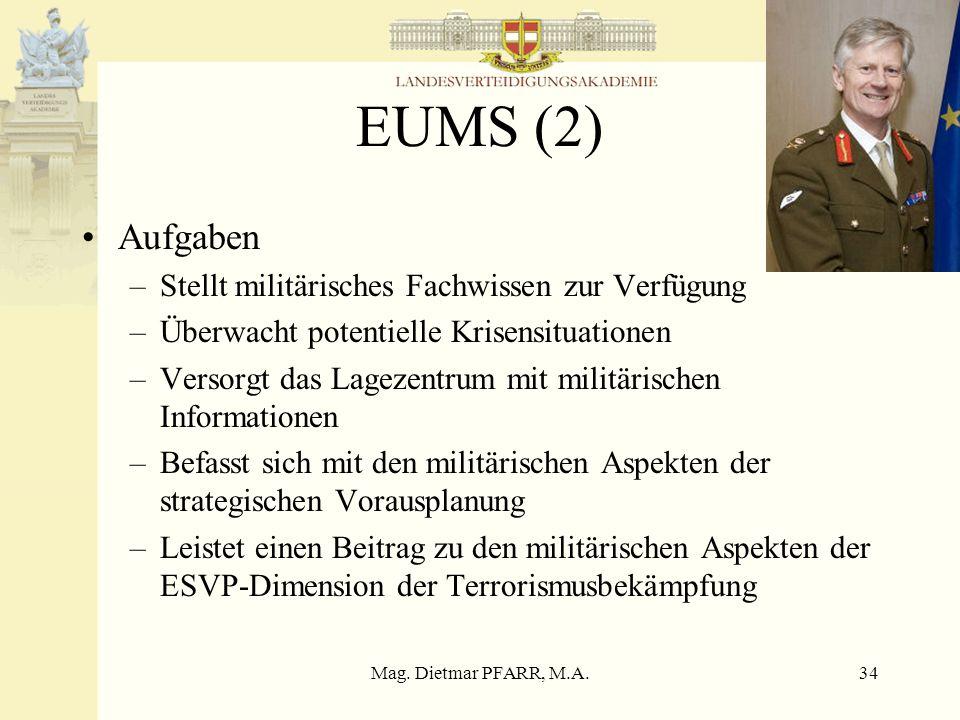 Mag. Dietmar PFARR, M.A.34 EUMS (2) Aufgaben –Stellt militärisches Fachwissen zur Verfügung –Überwacht potentielle Krisensituationen –Versorgt das Lag