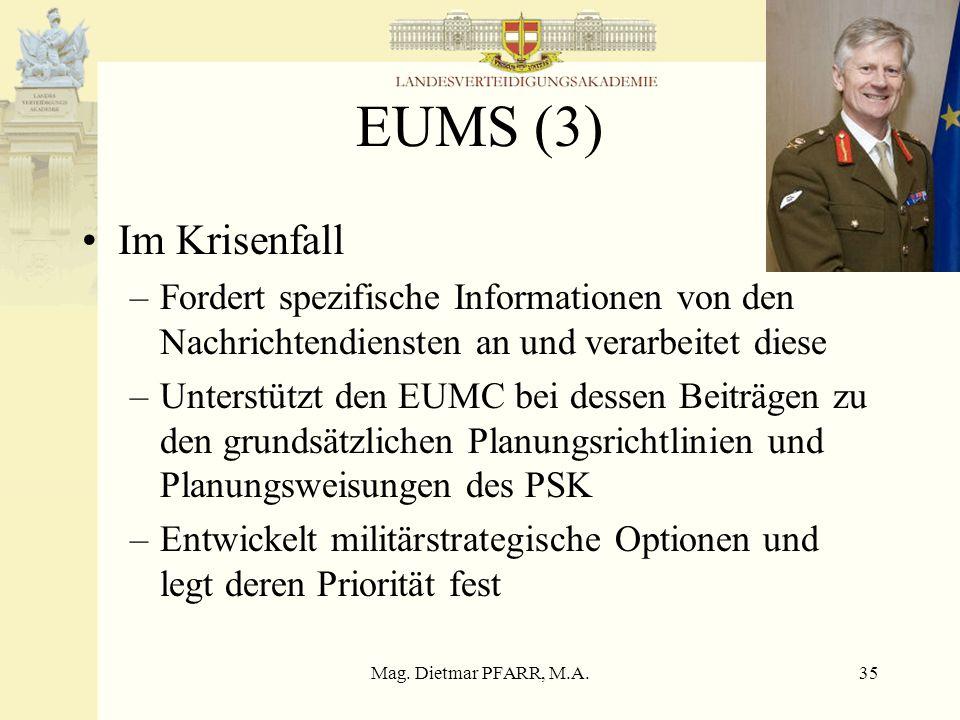 Mag. Dietmar PFARR, M.A.35 EUMS (3) Im Krisenfall –Fordert spezifische Informationen von den Nachrichtendiensten an und verarbeitet diese –Unterstützt