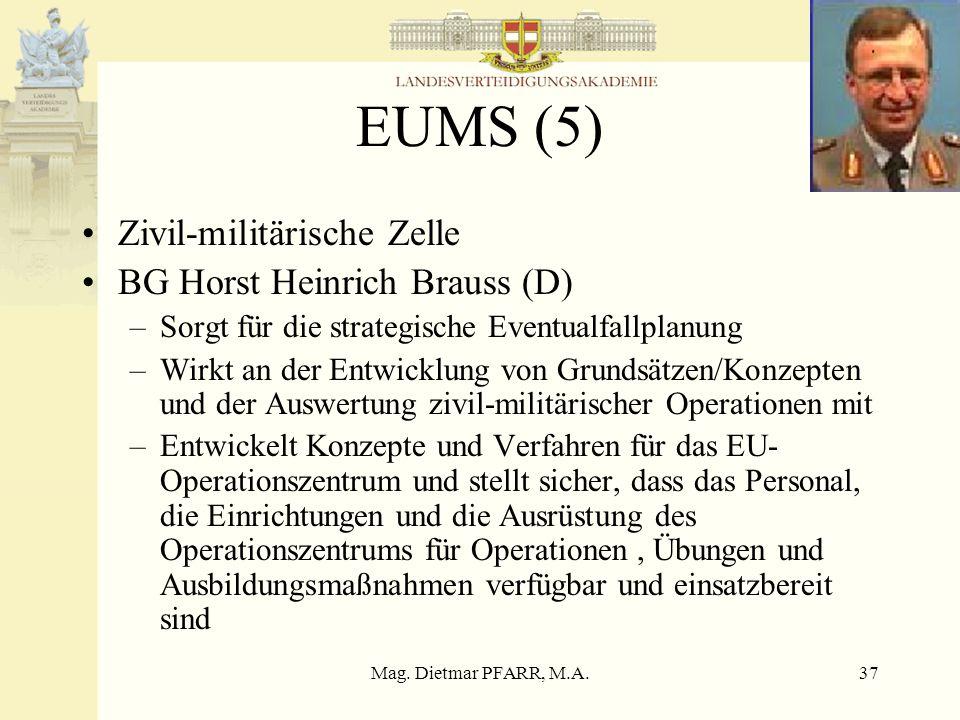 Mag. Dietmar PFARR, M.A.37 EUMS (5) Zivil-militärische Zelle BG Horst Heinrich Brauss (D) –Sorgt für die strategische Eventualfallplanung –Wirkt an de