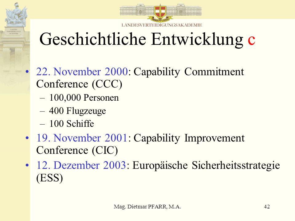 Mag. Dietmar PFARR, M.A.42 Geschichtliche Entwicklung c 22. November 2000: Capability Commitment Conference (CCC) –100,000 Personen –400 Flugzeuge –10