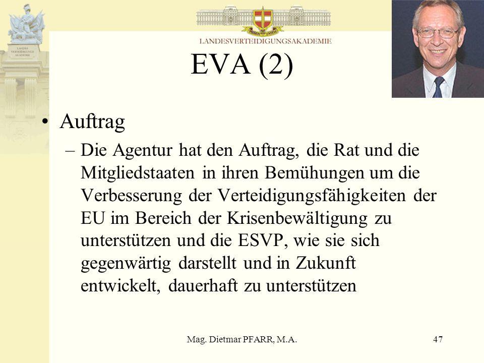 Mag. Dietmar PFARR, M.A.47 EVA (2) Auftrag –Die Agentur hat den Auftrag, die Rat und die Mitgliedstaaten in ihren Bemühungen um die Verbesserung der V