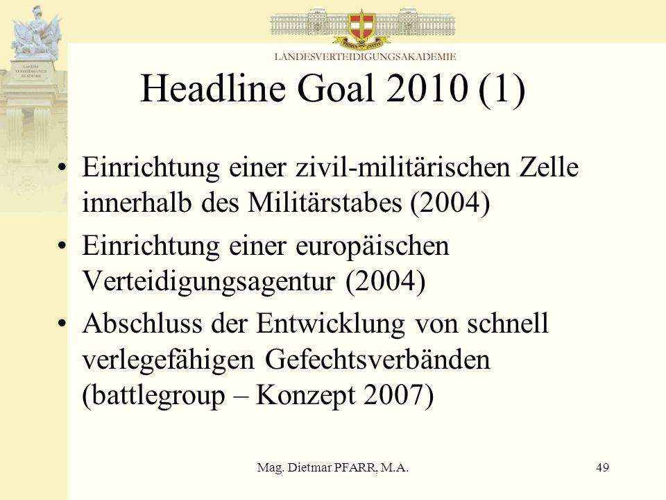 Mag. Dietmar PFARR, M.A.49 Headline Goal 2010 (1) Einrichtung einer zivil-militärischen Zelle innerhalb des Militärstabes (2004) Einrichtung einer eur