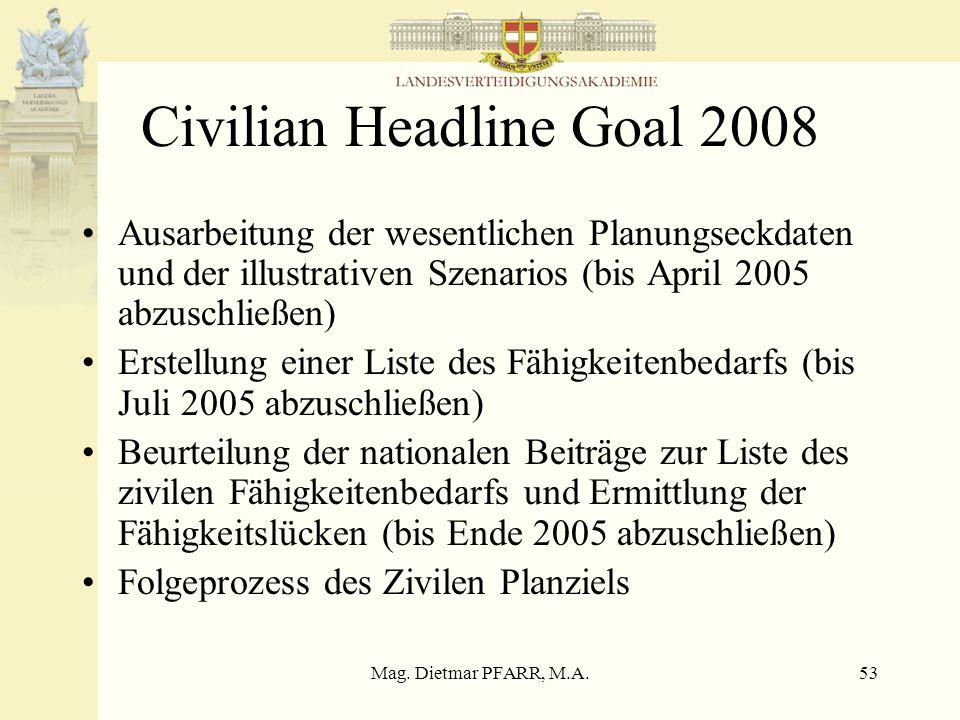 Mag. Dietmar PFARR, M.A.53 Civilian Headline Goal 2008 Ausarbeitung der wesentlichen Planungseckdaten und der illustrativen Szenarios (bis April 2005
