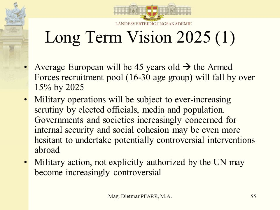 Mag. Dietmar PFARR, M.A.55 Long Term Vision 2025 (1) Average European will be 45 years old the Armed Forces recruitment pool (16-30 age group) will fa