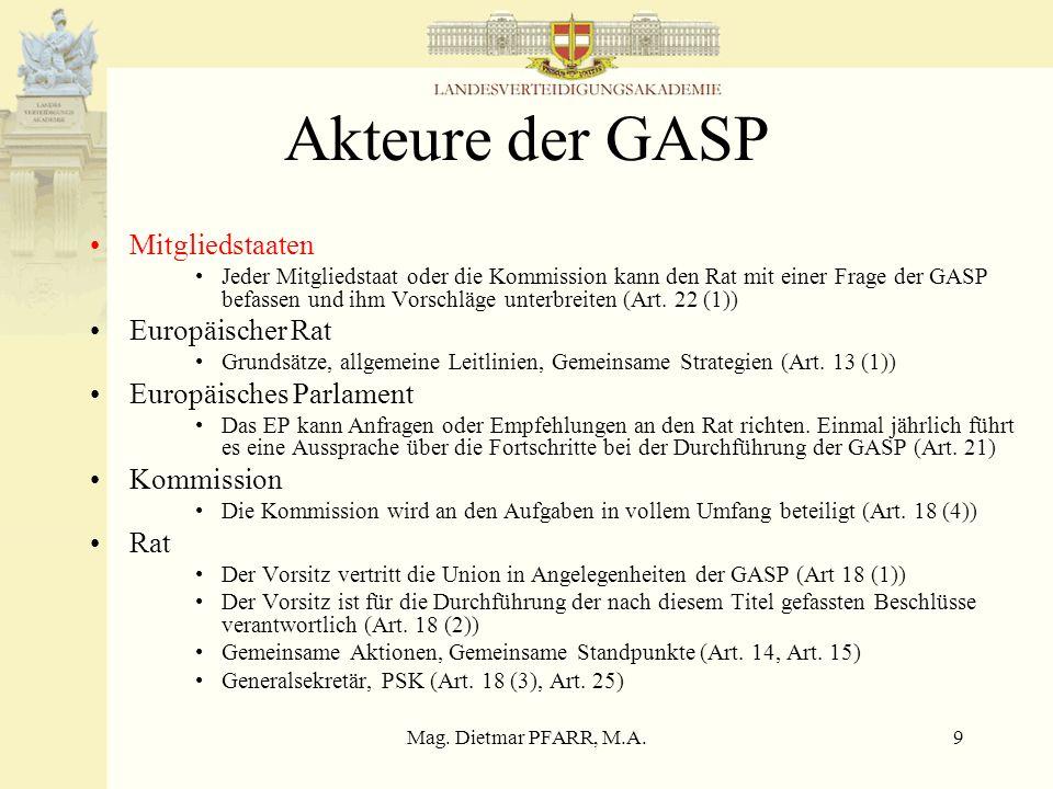 Mag. Dietmar PFARR, M.A.9 Akteure der GASP Mitgliedstaaten Jeder Mitgliedstaat oder die Kommission kann den Rat mit einer Frage der GASP befassen und