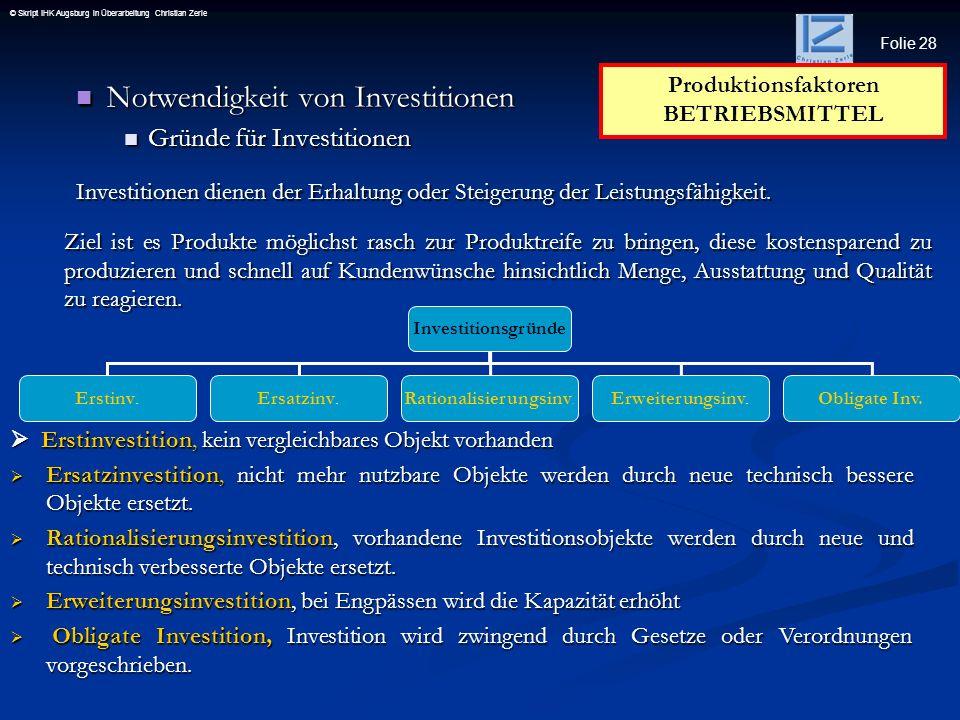 Folie 28 © Skript IHK Augsburg in Überarbeitung Christian Zerle Notwendigkeit von Investitionen Notwendigkeit von Investitionen Gründe für Investition
