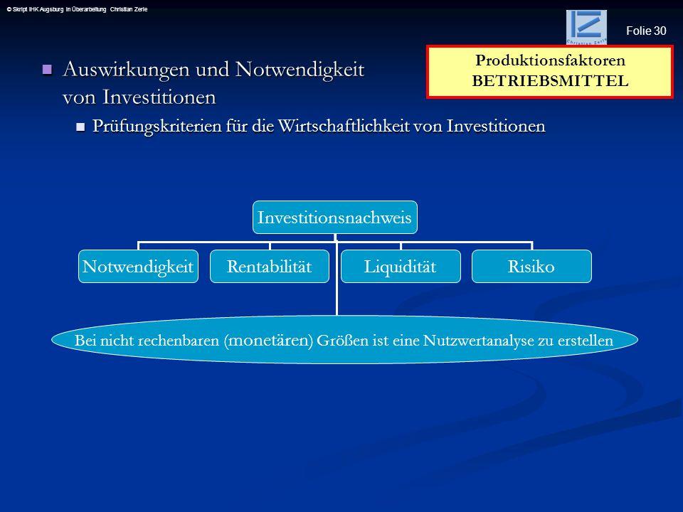 Folie 30 © Skript IHK Augsburg in Überarbeitung Christian Zerle Auswirkungen und Notwendigkeit von Investitionen Auswirkungen und Notwendigkeit von In