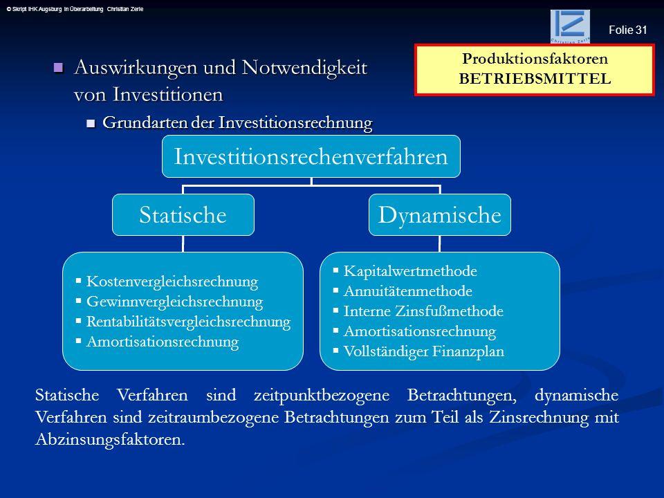 Folie 31 © Skript IHK Augsburg in Überarbeitung Christian Zerle Auswirkungen und Notwendigkeit von Investitionen Auswirkungen und Notwendigkeit von In
