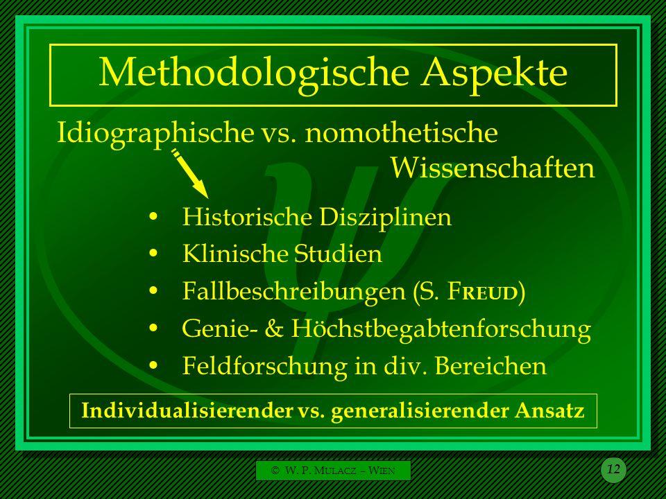 © W. P. M ULACZ – W IEN 12 Methodologische Aspekte Idiographische vs. nomothetische Wissenschaften Historische Disziplinen Klinische Studien Fallbesch