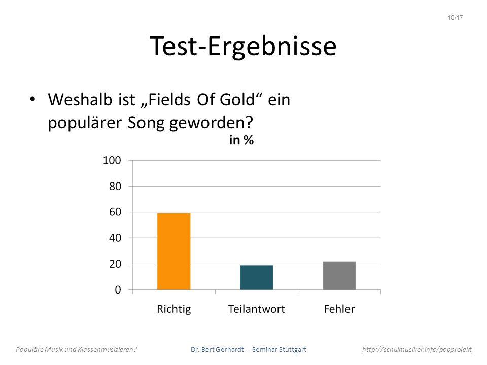 Test-Ergebnisse Weshalb ist Fields Of Gold ein populärer Song geworden? Populäre Musik und Klassenmusizieren? Dr. Bert Gerhardt - Seminar Stuttgart ht