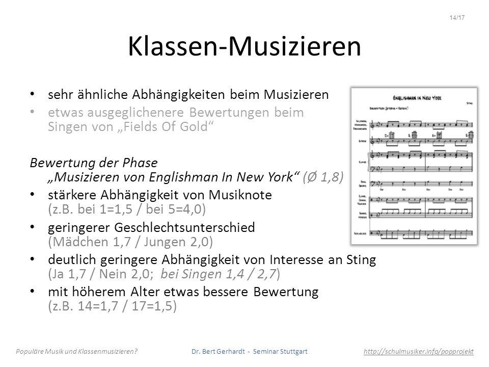 Klassen-Musizieren sehr ähnliche Abhängigkeiten beim Musizieren etwas ausgeglichenere Bewertungen beim Singen von Fields Of Gold Bewertung der Phase M