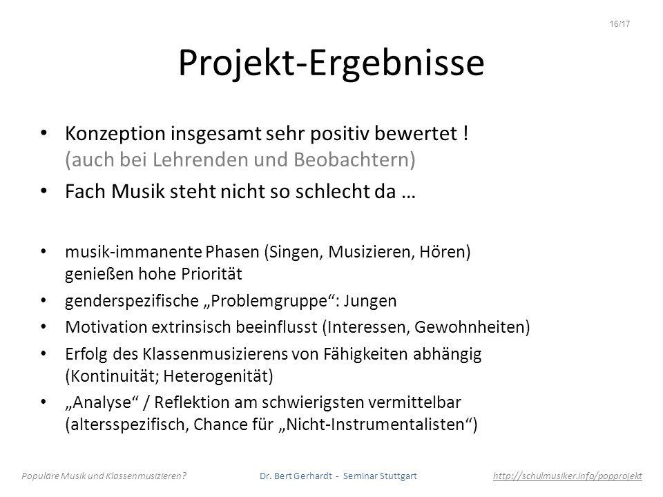 Projekt-Ergebnisse Konzeption insgesamt sehr positiv bewertet ! (auch bei Lehrenden und Beobachtern) Fach Musik steht nicht so schlecht da … musik-imm