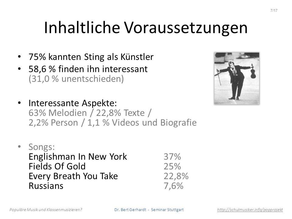 Inhaltliche Voraussetzungen 75% kannten Sting als Künstler 58,6 % finden ihn interessant (31,0 % unentschieden) Interessante Aspekte: 63% Melodien / 2