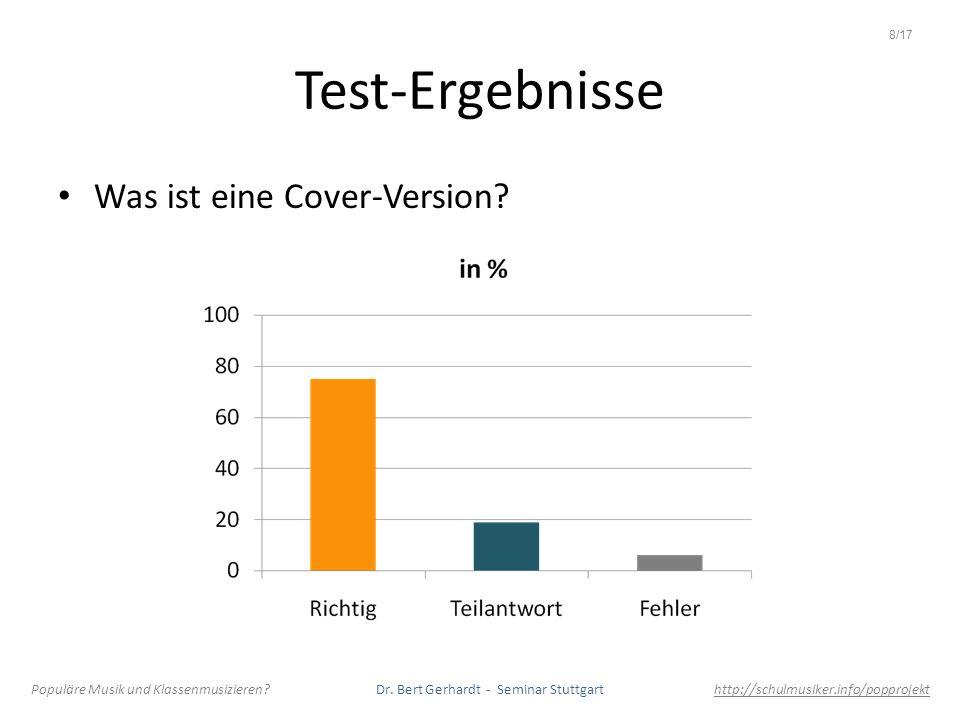 Test-Ergebnisse Was ist eine Cover-Version? Populäre Musik und Klassenmusizieren? Dr. Bert Gerhardt - Seminar Stuttgart http://schulmusiker.info/poppr