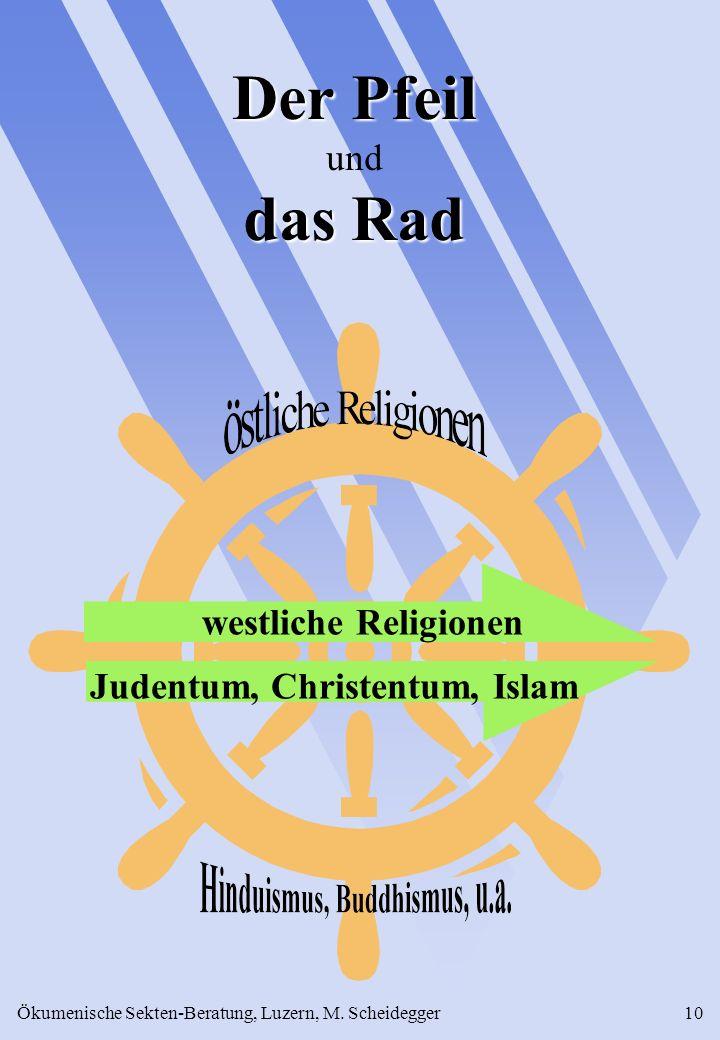 Ökumenische Sekten-Beratung, Luzern, M. Scheidegger10 Der Pfeil das Rad Der Pfeil und das Rad westliche Religionen Judentum, Christentum, Islam