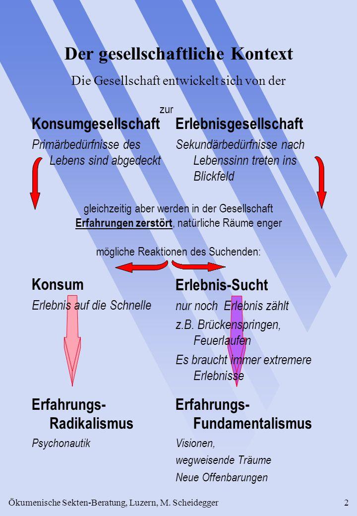 Ökumenische Sekten-Beratung, Luzern, M. Scheidegger2 Konsumgesellschaft Primärbedürfnisse des Lebens sind abgedeckt Konsum Erlebnis auf die Schnelle E