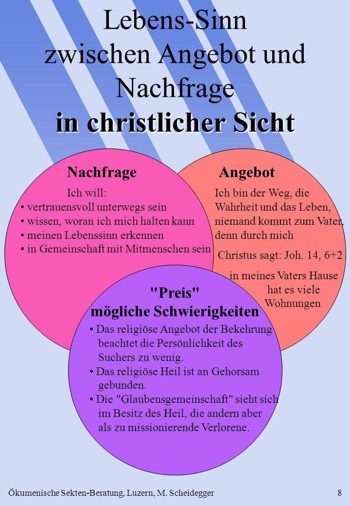 Ökumenische Sekten-Beratung, Luzern, M. Scheidegger8 in christlicher Sicht Lebens-Sinn zwischen Angebot und Nachfrage in christlicher Sicht Ich bin de