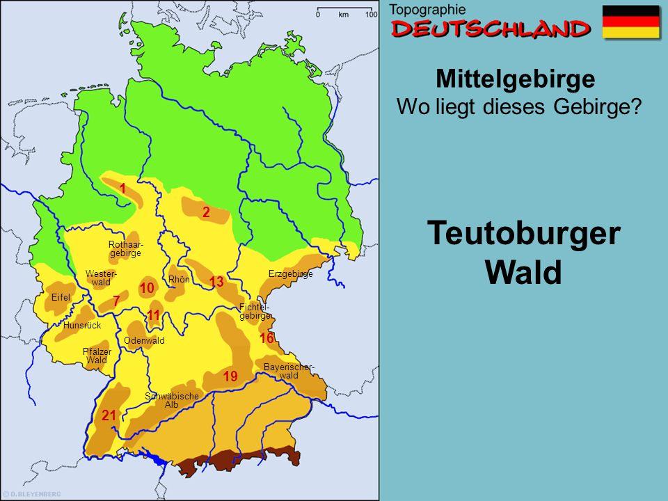 Mittelgebirge 1 2 6 7 10 11 13 16 19 21 Wo liegt dieses Gebirge? Schwäbische Alb Wester- wald Erzgebirge Pfälzer Wald Eifel Hunsrück Odenwald Fichtel-