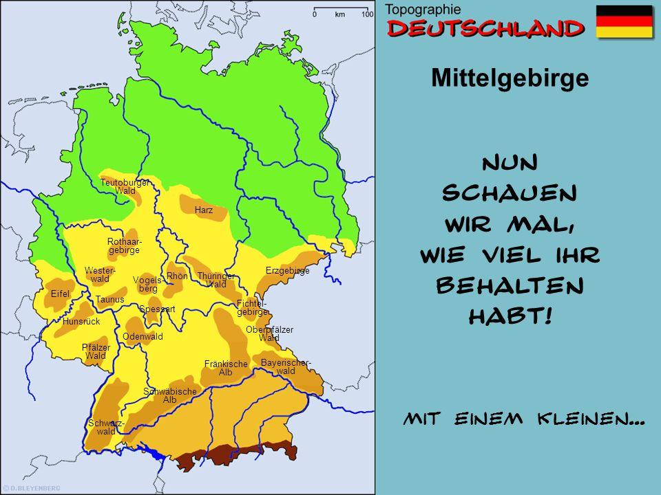 Mittelgebirge 7 Wo liegt dieses Gebirge? Schwäbische Alb Wester- wald Erzgebirge Pfälzer Wald Eifel fehlt noch der Taunus bei Nummer 7 Odenwald Fichte