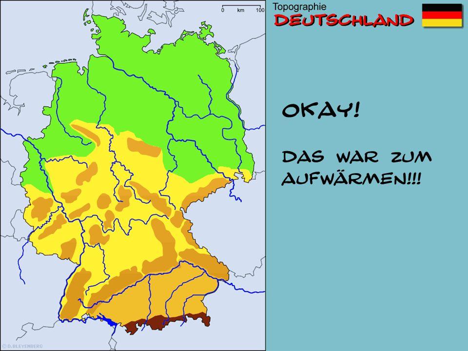 Wie heißen die vier Großlandschaften? Tiefland Mittelgebirge Alpenvorland Alpen (Hochgebirge) 1. 2. 3. 4.