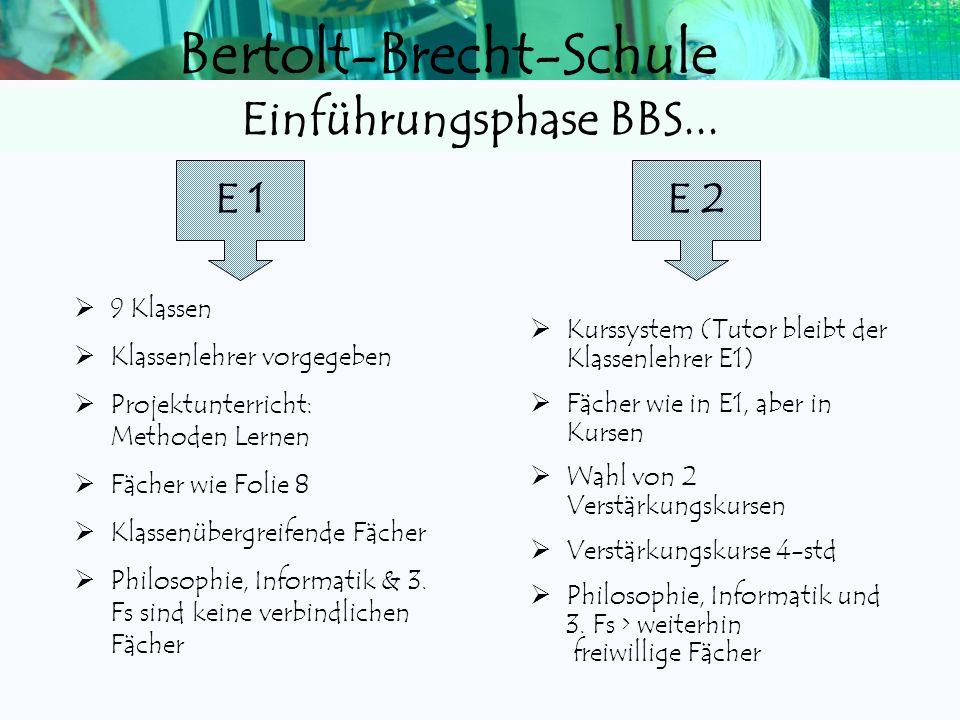 Bertolt-Brecht-Schule Zwei Fremdsprachen sind in der Stufe E1/E2 verpflichtend. Eine Fremdsprache aus der Mittelstufe (ab 5 oder ab 7/9) muss weiterge