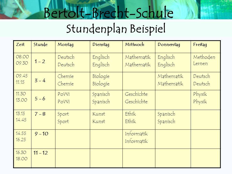 Bertolt-Brecht-Schule Kurssystem (Tutor bleibt der Klassenlehrer E1) Fächer wie in E1, aber in Kursen Wahl von 2 Verstärkungskursen Verstärkungskurse