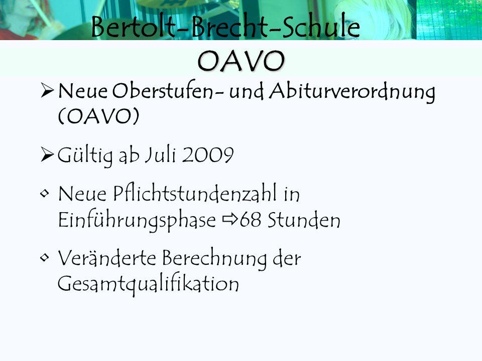 Bertolt-Brecht-Schule OAVO Neue Oberstufen- und Abiturverordnung (OAVO) Gültig ab Juli 2009 Neue Pflichtstundenzahl in Einführungsphase 68 Stunden Veränderte Berechnung der Gesamtqualifikation