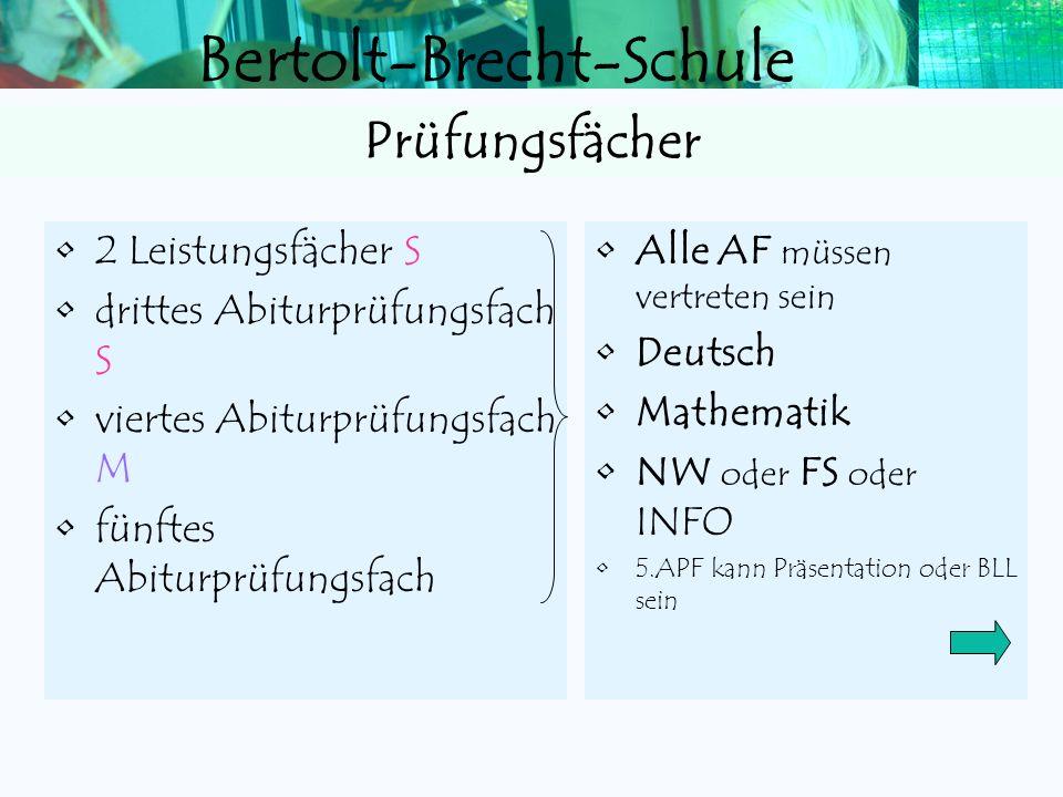Bertolt-Brecht-Schule Maximal 3 LKs unter 05 Notenpunkte Maximal 6 von 24 GKs unter 05 Np Kein verpflichtender Kurs mit 00 Np Zulassung zur Abiturprüf